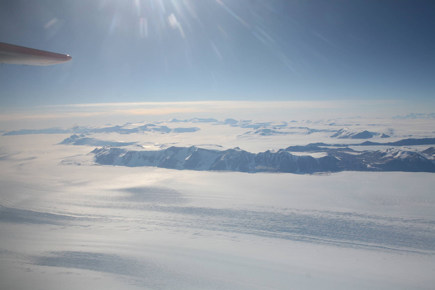Trans-Antarctic mountains seen from the airplane.