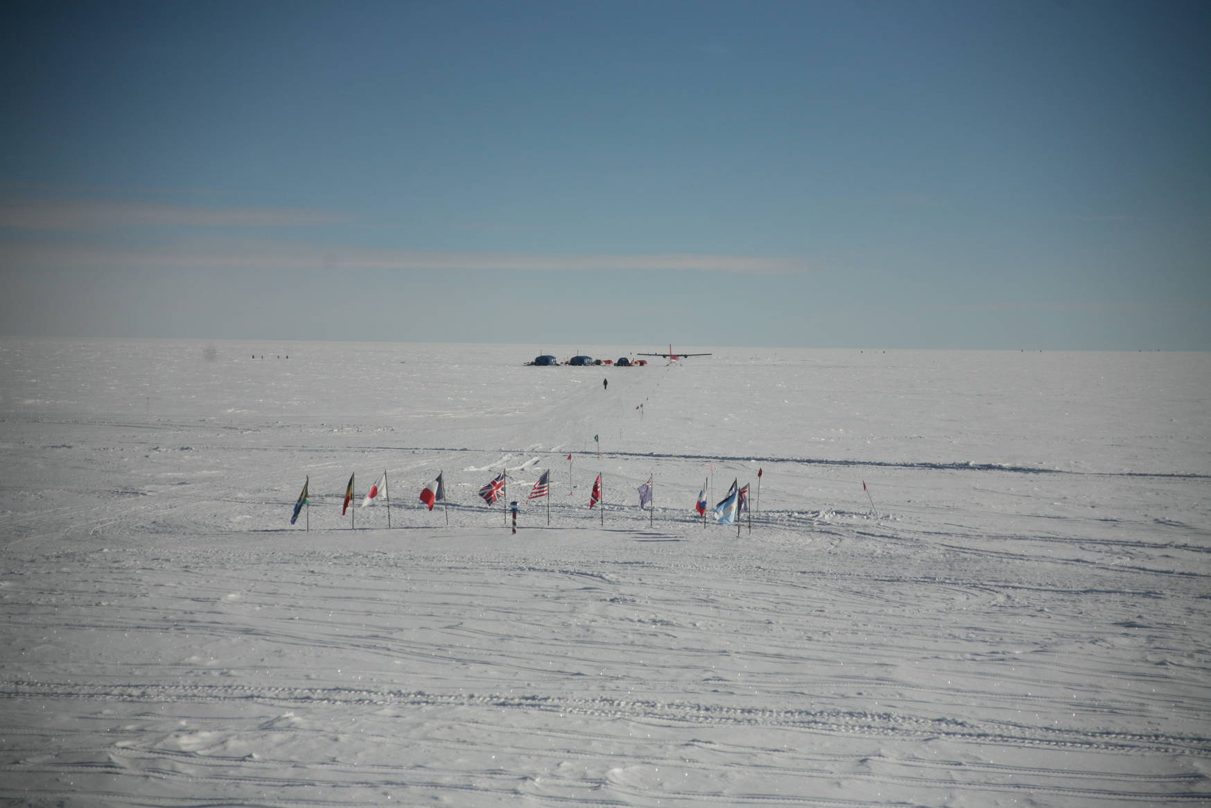Finally, the ceremonial south pole! This picture was taken from one of our galley windows. In the background: a tourist camp site.
