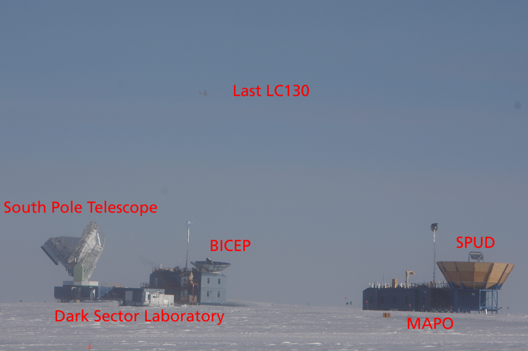 An overview. There is a bunch of telescopes in the same area at the South Pole. The South Pole Telescope is