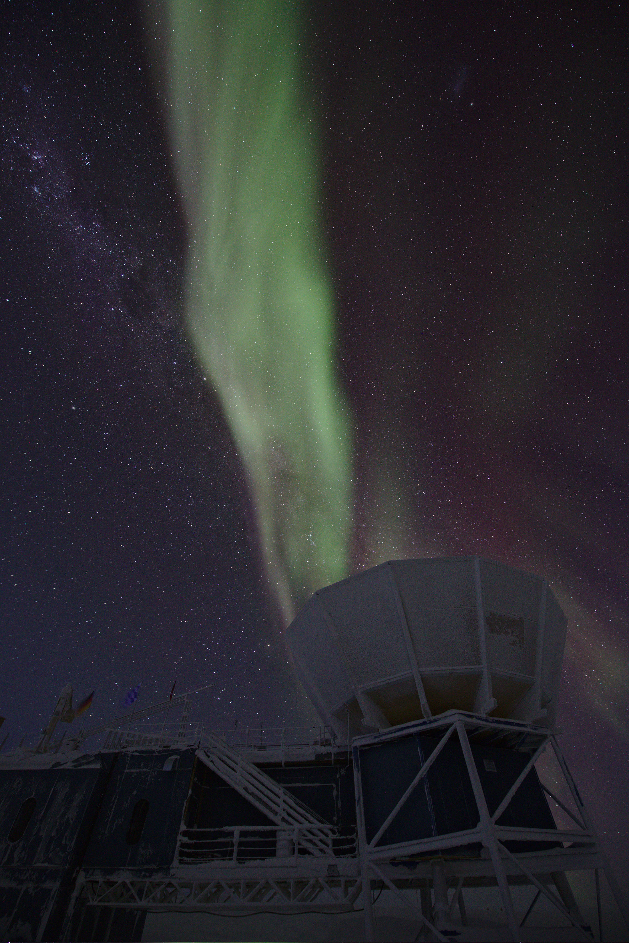 The SPUD telescope ground shield with strong auroras above it